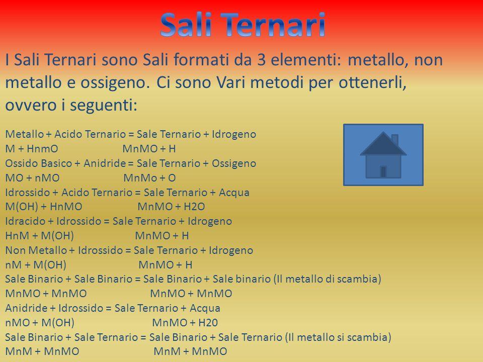 Metallo + Acido Ternario = Sale Ternario + Idrogeno M + HnmO MnMO + H Ossido Basico + Anidride = Sale Ternario + Ossigeno MO + nMO MnMo + O Idrossido