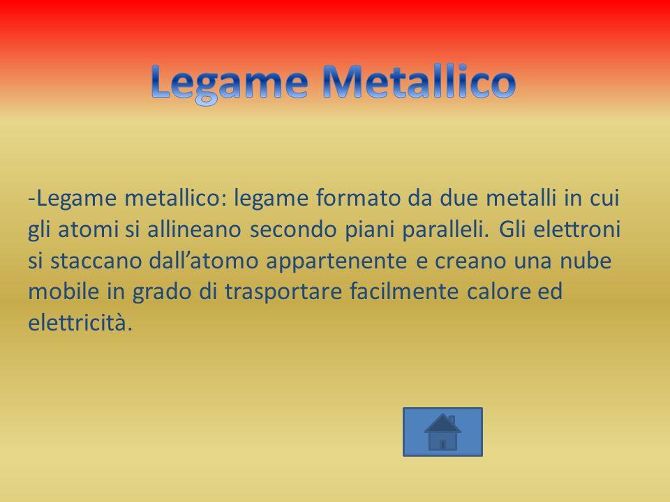 -Legame metallico: legame formato da due metalli in cui gli atomi si allineano secondo piani paralleli. Gli elettroni si staccano dallatomo appartenen