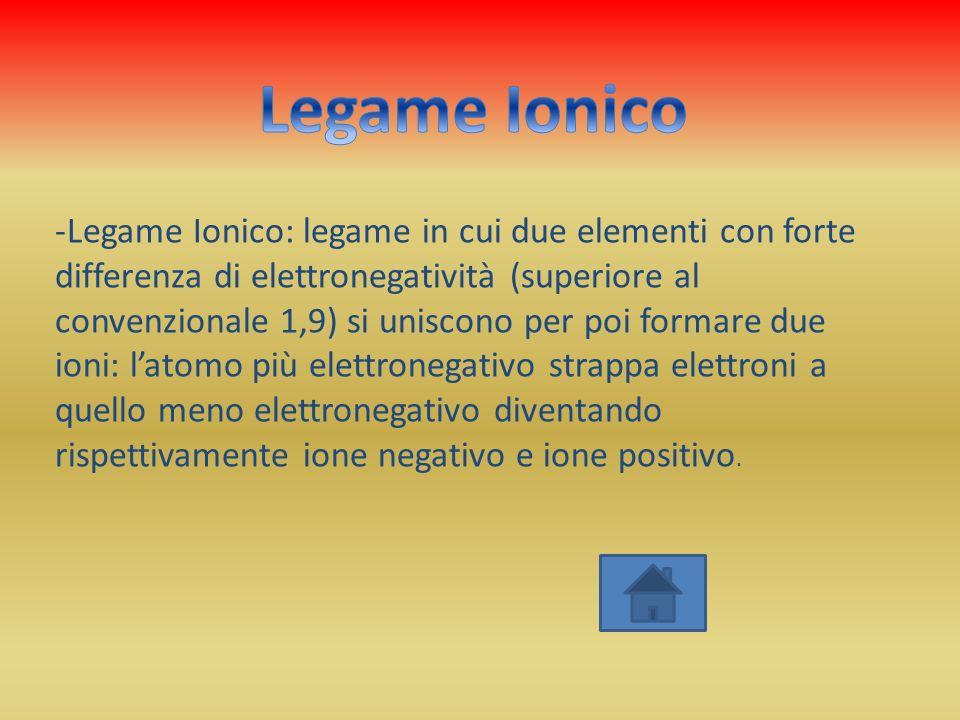 -Legame Ionico: legame in cui due elementi con forte differenza di elettronegatività (superiore al convenzionale 1,9) si uniscono per poi formare due