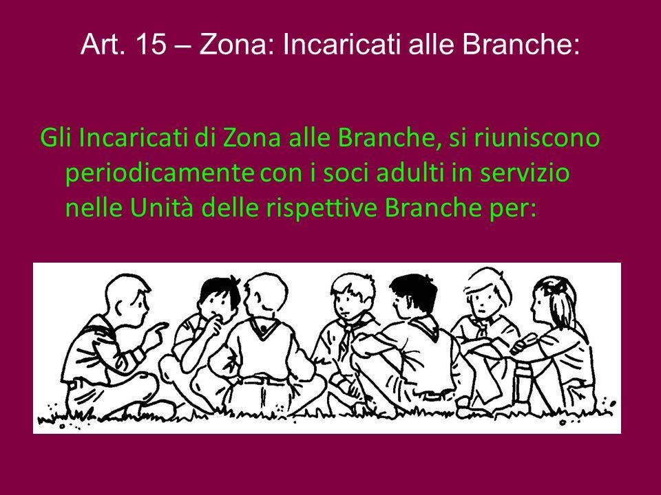 Art. 15 – Zona: Incaricati alle Branche: Gli Incaricati di Zona alle Branche, si riuniscono periodicamente con i soci adulti in servizio nelle Unità d