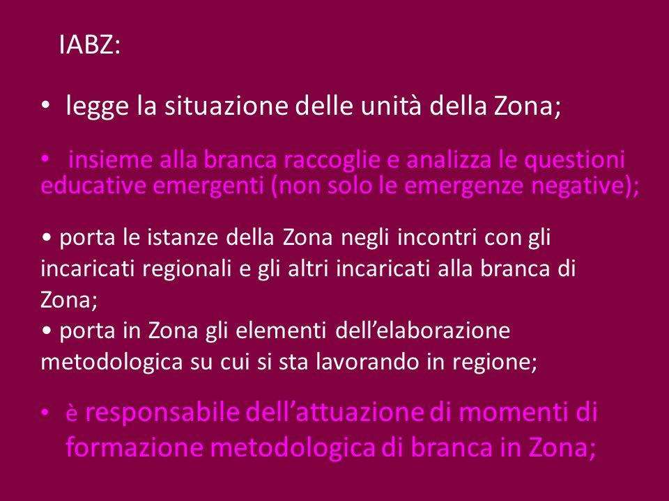 legge la situazione delle unità della Zona; insieme alla branca raccoglie e analizza le questioni educative emergenti (non solo le emergenze negative)