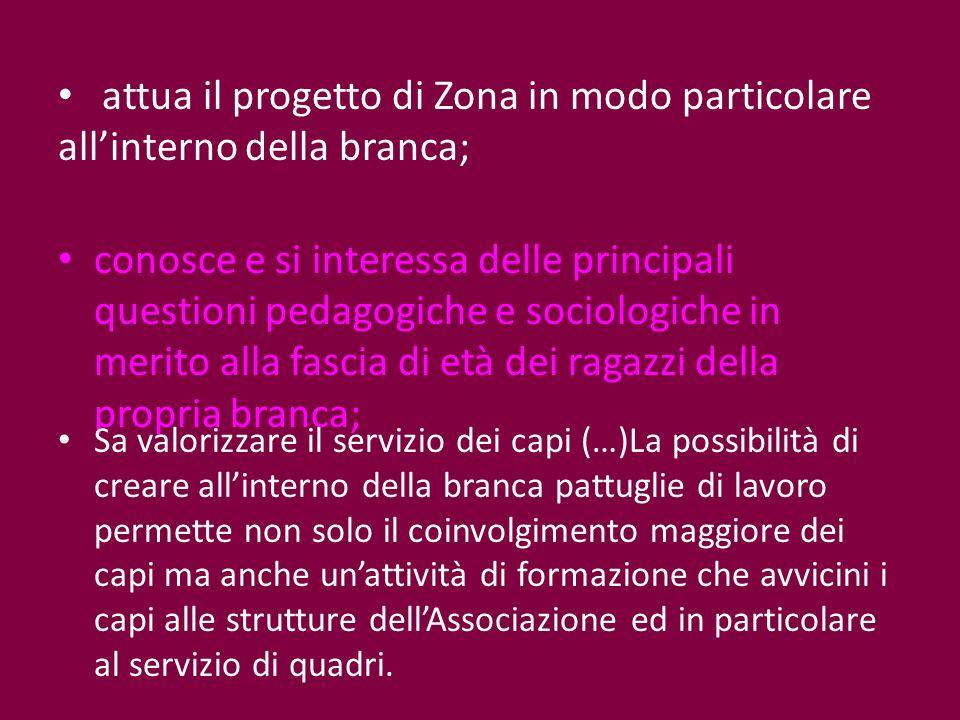 attua il progetto di Zona in modo particolare allinterno della branca; conosce e si interessa delle principali questioni pedagogiche e sociologiche in
