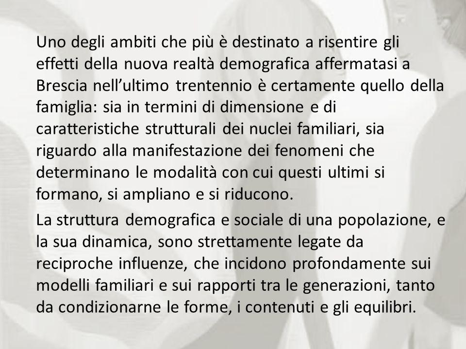 Uno degli ambiti che più è destinato a risentire gli effetti della nuova realtà demografica affermatasi a Brescia nellultimo trentennio è certamente q