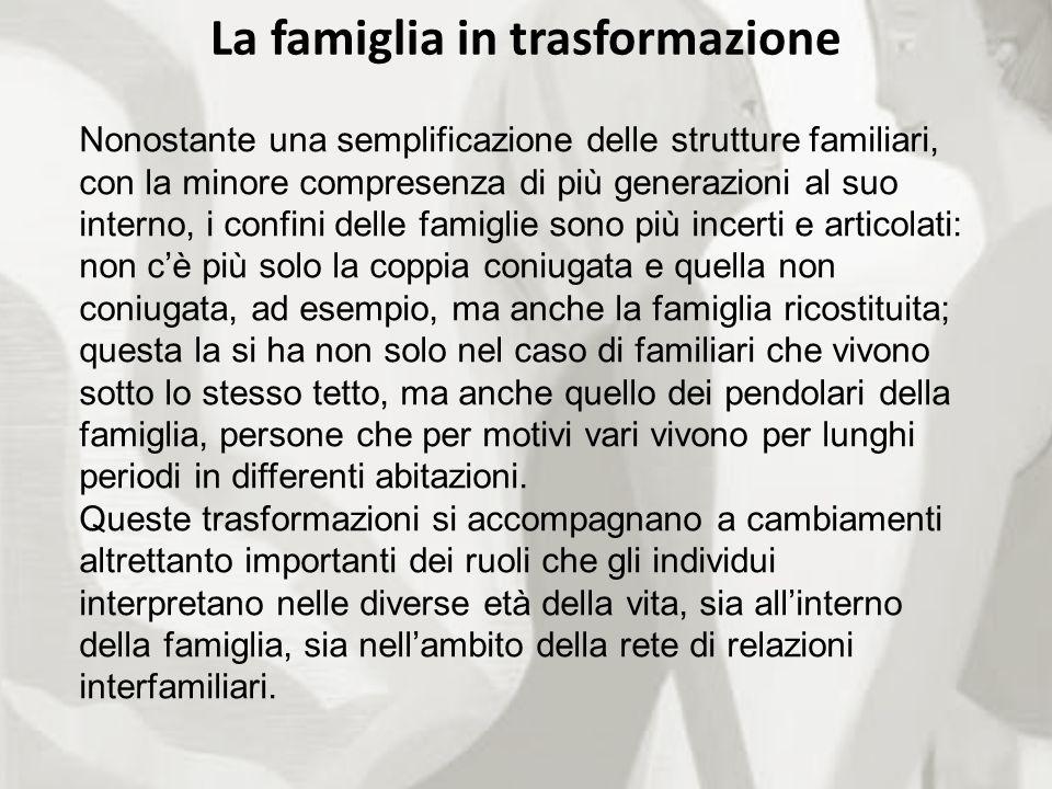 La famiglia in trasformazione Nonostante una semplificazione delle strutture familiari, con la minore compresenza di più generazioni al suo interno, i