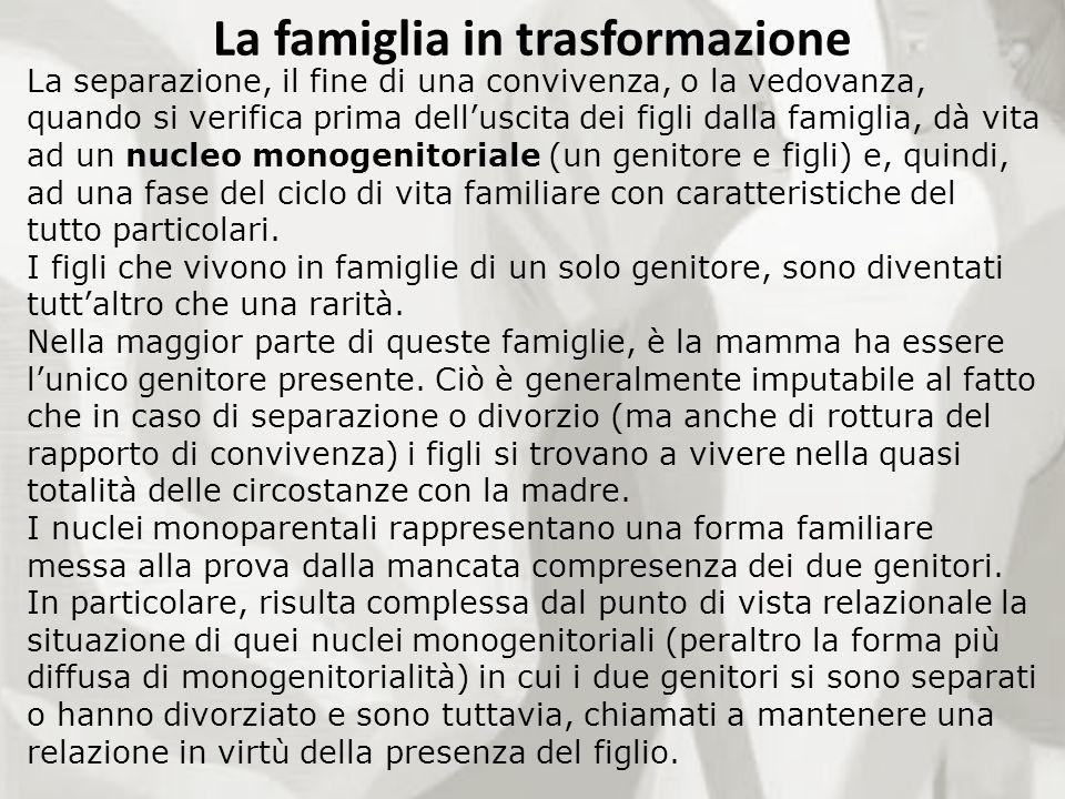 La separazione, il fine di una convivenza, o la vedovanza, quando si verifica prima delluscita dei figli dalla famiglia, dà vita ad un nucleo monogeni