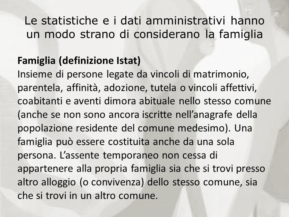 Le statistiche e i dati amministrativi hanno un modo strano di considerano la famiglia Famiglia (definizione Istat) Insieme di persone legate da vinco