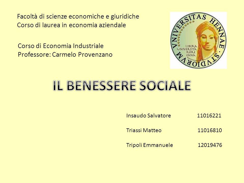 Facoltà di scienze economiche e giuridiche Corso di laurea in economia aziendale Corso di Economia Industriale Professore: Carmelo Provenzano Insaudo