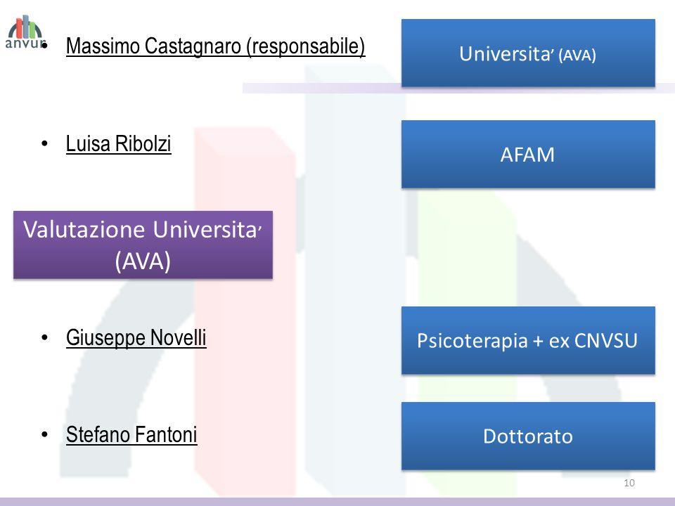 Massimo Castagnaro (responsabile) Luisa Ribolzi Giuseppe Novelli Stefano Fantoni 10 Valutazione Universita (AVA) Valutazione Universita (AVA) Universita (AVA) Dottorato AFAM Psicoterapia + ex CNVSU