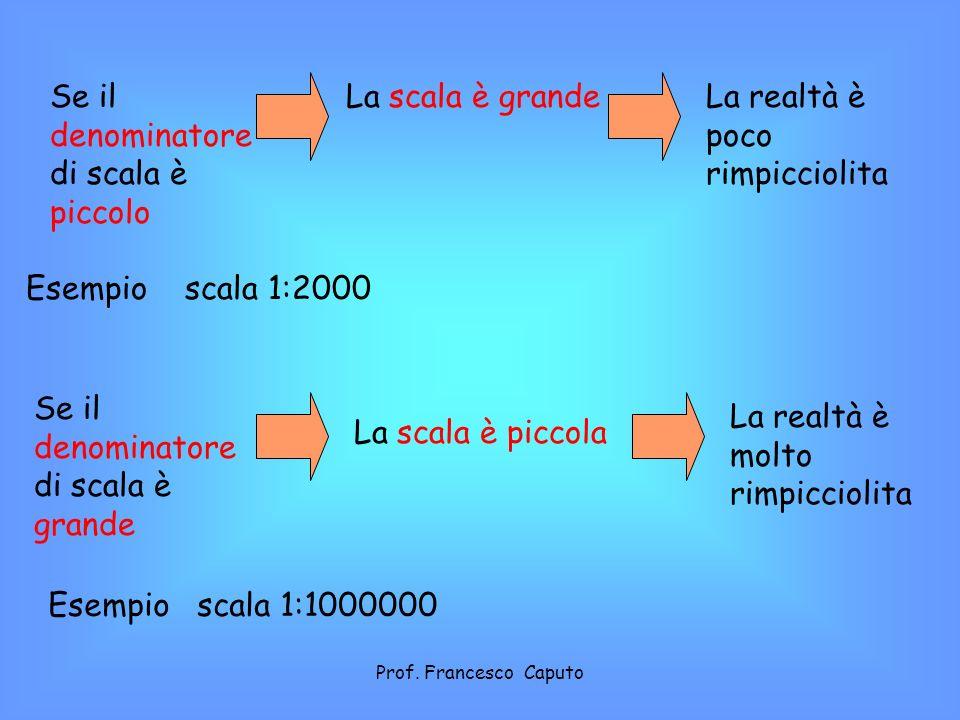 SCALA NUMERICA 1:100000; 1;25000; 1:50000 ecc… Nelle carte sono indicate due tipi di scale: SCALA GRAFICA 1 cm = 1 km 1 km= 100000 cm quindi corrisponde a scala 1:100000 Prof.