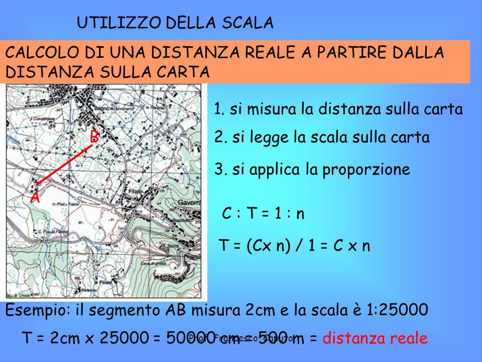 UTILIZZO DELLA SCALA CALCOLO DI UNA DISTANZA REALE A PARTIRE DALLA DISTANZA SULLA CARTA A B 1. si misura la distanza sulla carta 2. si legge la scala