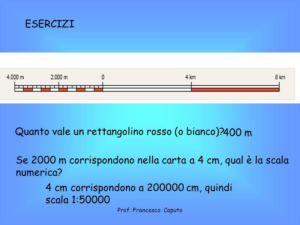 Quanto vale un rettangolino rosso (o bianco)? 400 m Se 2000 m corrispondono nella carta a 4 cm, qual è la scala numerica? 4 cm corrispondono a 200000