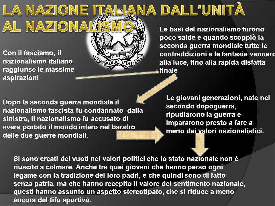 Con il fascismo, il nazionalismo italiano raggiunse le massime aspirazioni. Le basi del nazionalismo furono poco salde e quando scoppiò la seconda gue
