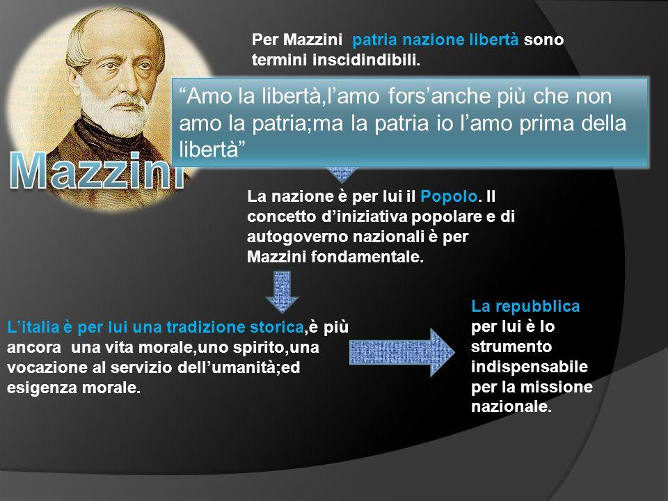Per Mazzini patria nazione libertà sono termini inscidindibili. Amo la libertà,lamo forsanche più che non amo la patria;ma la patria io lamo prima del