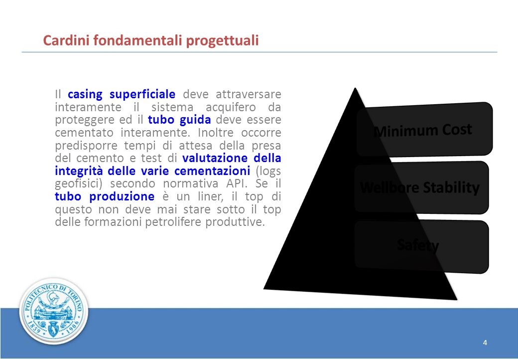 Cardini fondamentali progettuali Il casing superficiale deve attraversare interamente il sistema acquifero da proteggere ed il tubo guida deve essere