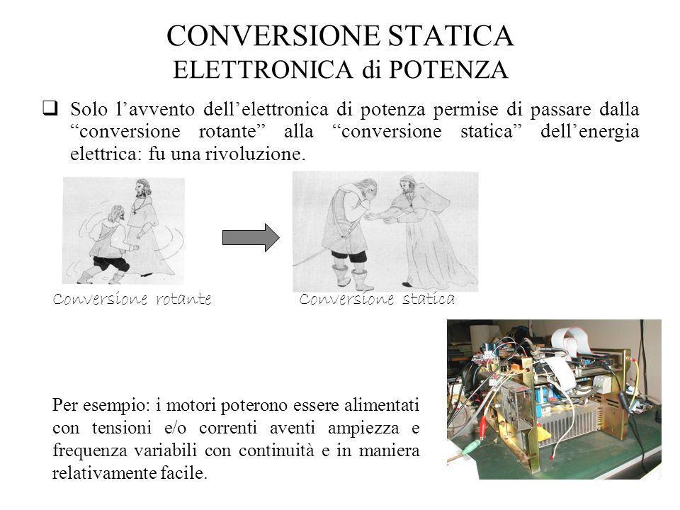 CONVERSIONE STATICA ELETTRONICA di POTENZA Solo lavvento dellelettronica di potenza permise di passare dalla conversione rotante alla conversione stat
