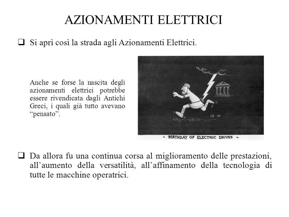 AZIONAMENTI ELETTRICI Si aprì così la strada agli Azionamenti Elettrici. Anche se forse la nascita degli azionamenti elettrici potrebbe essere rivendi