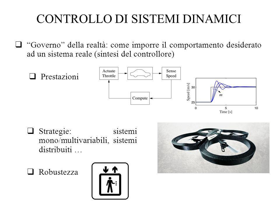 CONTROLLO DI SISTEMI DINAMICI Governo della realtà: come imporre il comportamento desiderato ad un sistema reale (sintesi del controllore) Prestazioni