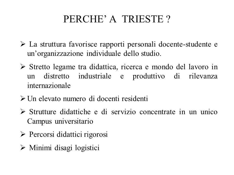 PERCHE A TRIESTE ? La struttura favorisce rapporti personali docente-studente e unorganizzazione individuale dello studio. Stretto legame tra didattic