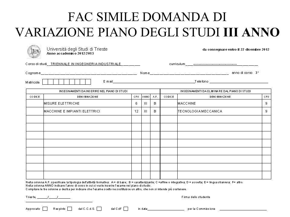 FAC SIMILE DOMANDA DI VARIAZIONE PIANO DEGLI STUDI III ANNO