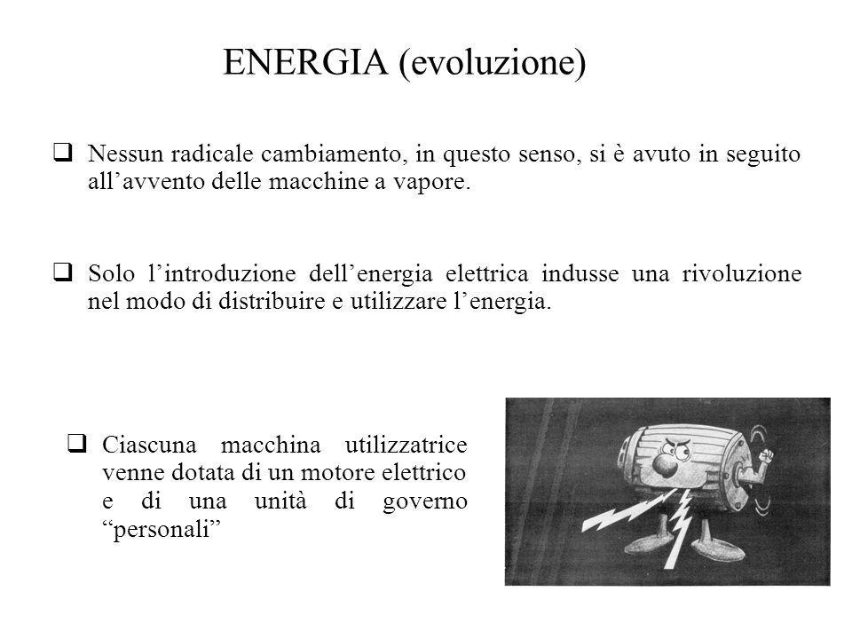 ENERGIA (evoluzione) Solo lintroduzione dellenergia elettrica indusse una rivoluzione nel modo di distribuire e utilizzare lenergia. Ciascuna macchina