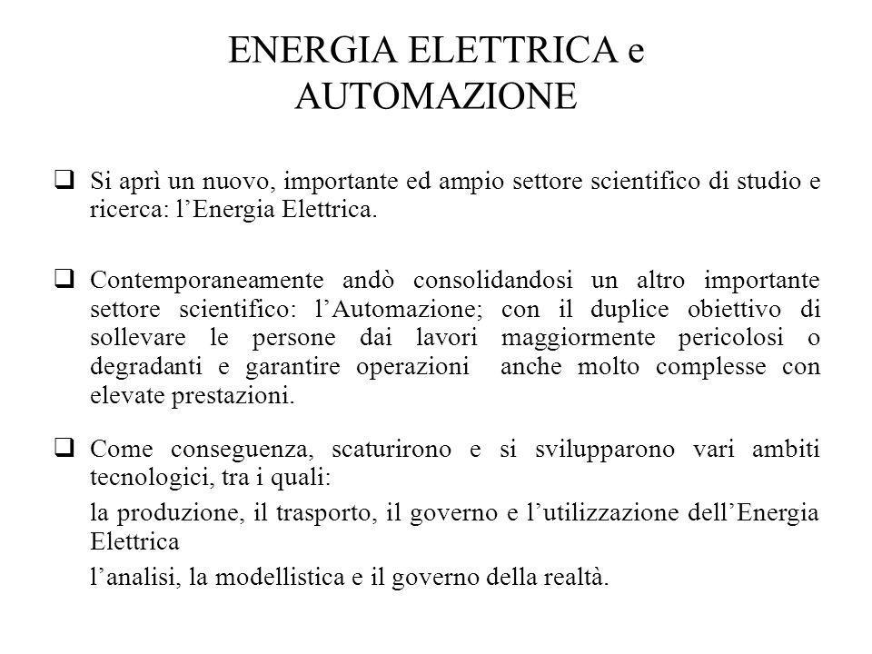 ENERGIA ELETTRICA e AUTOMAZIONE Si aprì un nuovo, importante ed ampio settore scientifico di studio e ricerca: lEnergia Elettrica. Contemporaneamente