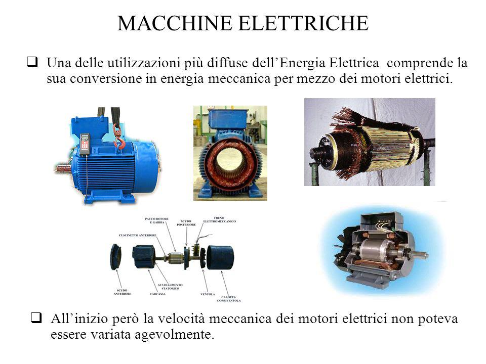 MACCHINE ELETTRICHE Una delle utilizzazioni più diffuse dellEnergia Elettrica comprende la sua conversione in energia meccanica per mezzo dei motori e