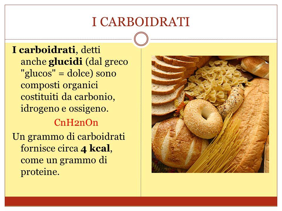 I CARBOIDRATI I carboidrati, detti anche glucidi (dal greco glucos = dolce) sono composti organici costituiti da carbonio, idrogeno e ossigeno.