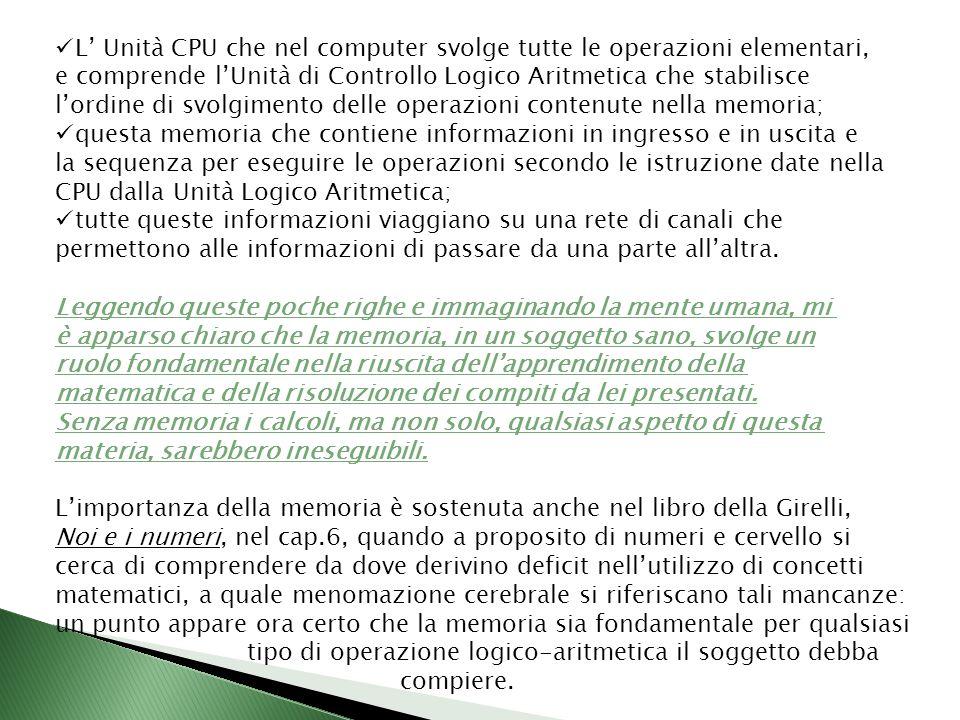 L Unità CPU che nel computer svolge tutte le operazioni elementari, e comprende lUnità di Controllo Logico Aritmetica che stabilisce lordine di svolgi
