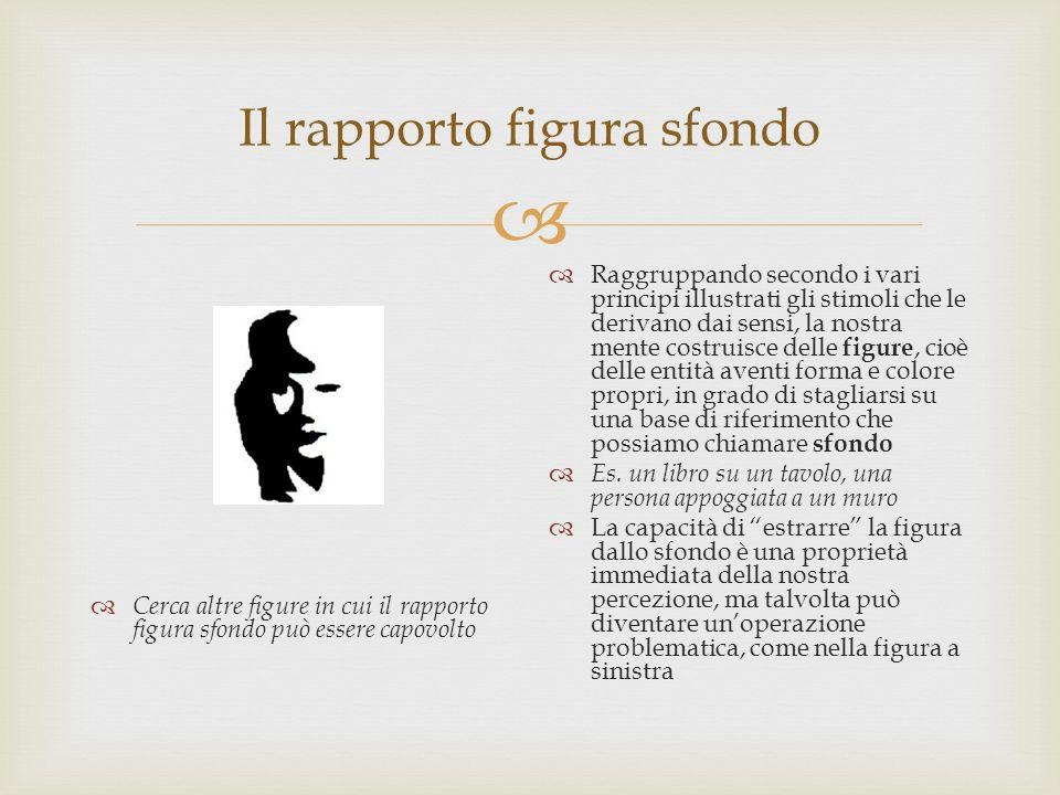 Il rapporto figura sfondo Cerca altre figure in cui il rapporto figura sfondo può essere capovolto Raggruppando secondo i vari principi illustrati gli