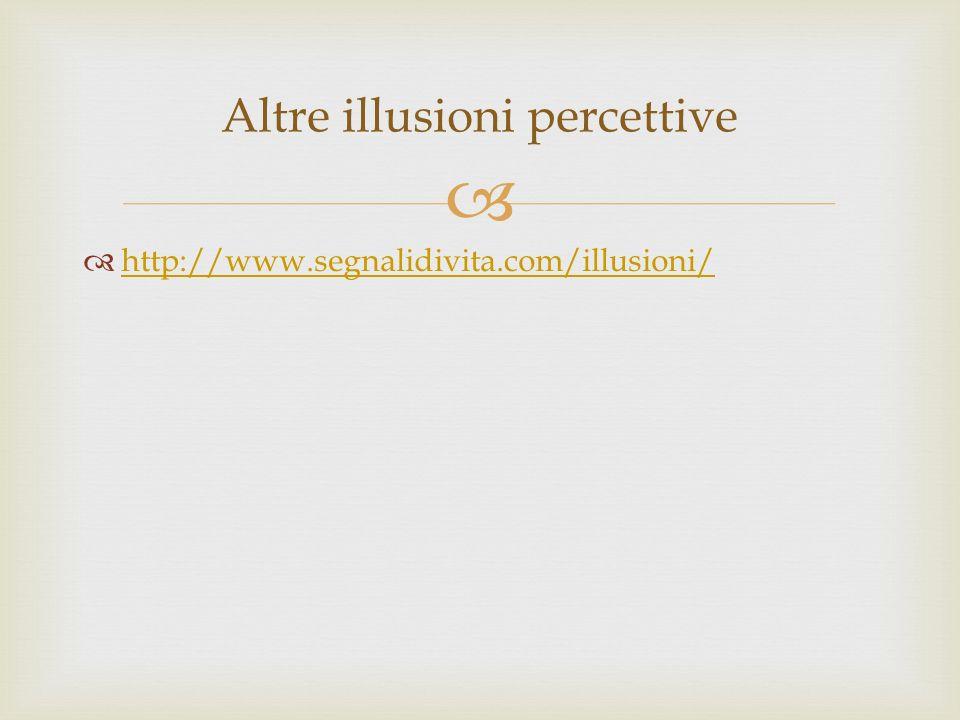 http://www.segnalidivita.com/illusioni/ Altre illusioni percettive