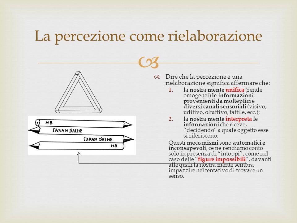 La percezione come rielaborazione Dire che la percezione è una rielaborazione significa affermare che: 1. la nostra mente unifica (rende omogenei) le