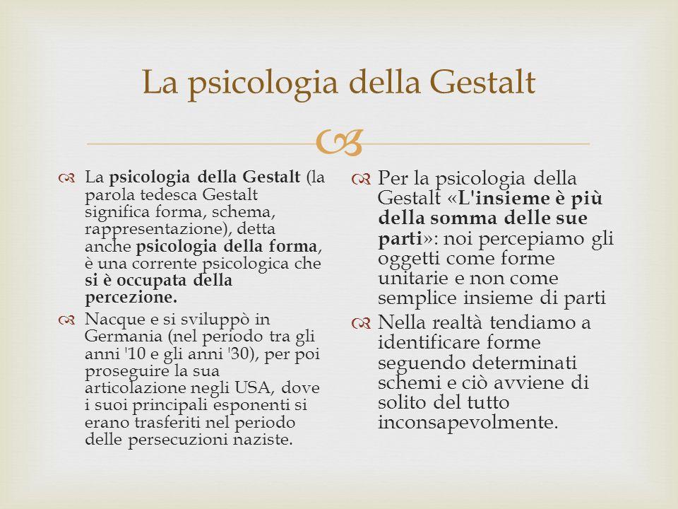 La psicologia della Gestalt La psicologia della Gestalt (la parola tedesca Gestalt significa forma, schema, rappresentazione), detta anche psicologia