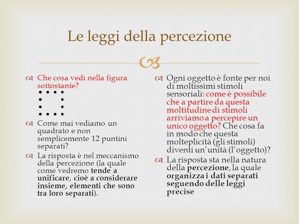 Le leggi della percezione Che cosa vedi nella figura sottostante? Come mai vediamo un quadrato e non semplicemente 12 puntini separati? La risposta è