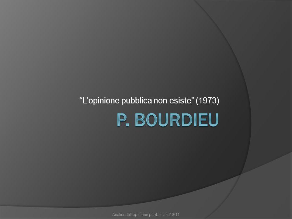 Lopinione pubblica non esiste (1973) Analisi dell opinione pubblica 2010/11