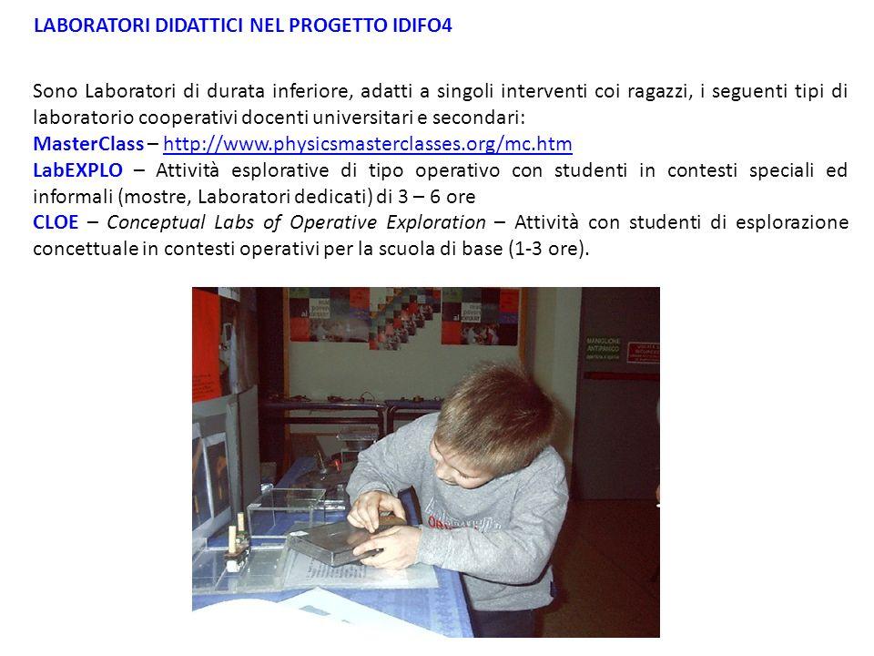 Sono Laboratori di durata inferiore, adatti a singoli interventi coi ragazzi, i seguenti tipi di laboratorio cooperativi docenti universitari e second