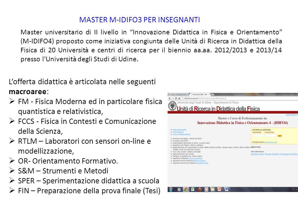 MASTER M-IDIFO3 PER INSEGNANTI Master universitario di II livello in Innovazione Didattica in Fisica e Orientamento (M-IDIFO4) proposto come iniziativ