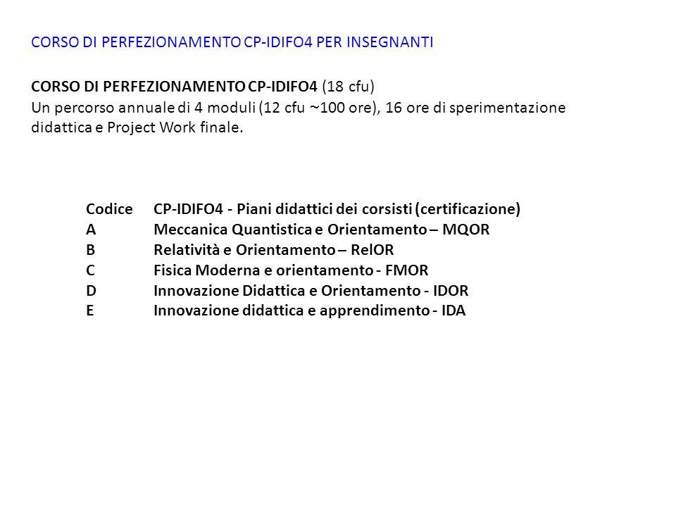 CORSO DI PERFEZIONAMENTO CP-IDIFO4 PER INSEGNANTI CORSO DI PERFEZIONAMENTO CP-IDIFO4 (18 cfu) Un percorso annuale di 4 moduli (12 cfu 100 ore), 16 ore