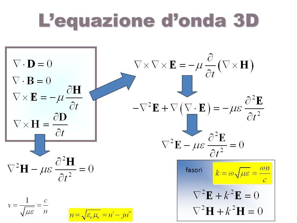 Lequazione donda 3D fasori