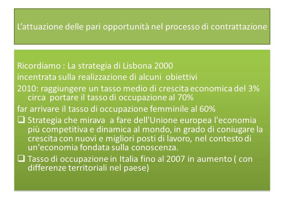 Lattuazione delle pari opportunità nel processo di contrattazione Ricordiamo : La strategia di Lisbona 2000 incentrata sulla realizzazione di alcuni obiettivi 2010: raggiungere un tasso medio di crescita economica del 3% circa portare il tasso di occupazione al 70% far arrivare il tasso di occupazione femminile al 60% Strategia che mirava a fare dell Unione europea l economia più competitiva e dinamica al mondo, in grado di coniugare la crescita con nuovi e migliori posti di lavoro, nel contesto di un economia fondata sulla conoscenza.