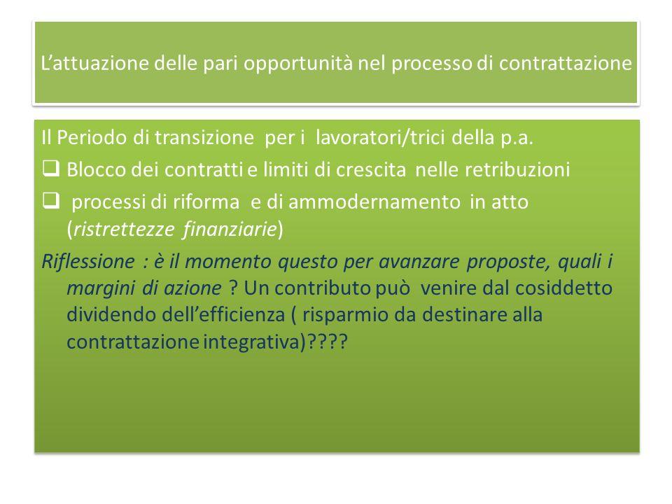 Lattuazione delle pari opportunità nel processo di contrattazione Il Periodo di transizione per i lavoratori/trici della p.a.