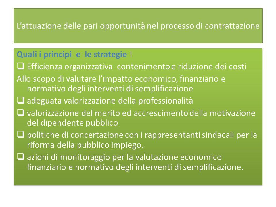 Lattuazione delle pari opportunità nel processo di contrattazione Quali i principi e le strategie .