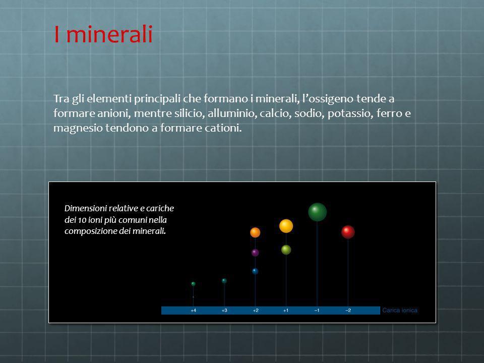 Tra gli elementi principali che formano i minerali, lossigeno tende a formare anioni, mentre silicio, alluminio, calcio, sodio, potassio, ferro e magn