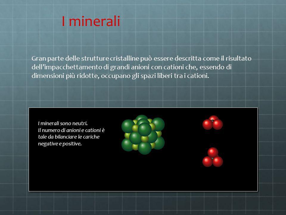 Gran parte delle strutture cristalline può essere descritta come il risultato dellimpacchettamento di grandi anioni con cationi che, essendo di dimens