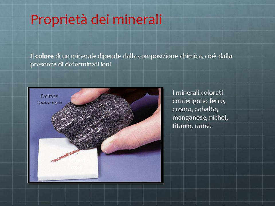 Il colore di un minerale dipende dalla composizione chimica, cioè dalla presenza di determinati ioni. Proprietà dei minerali Ematite Colore nero Polve