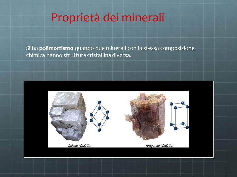 Si ha polimorfismo quando due minerali con la stessa composizione chimica hanno struttura cristallina diversa. Proprietà dei minerali