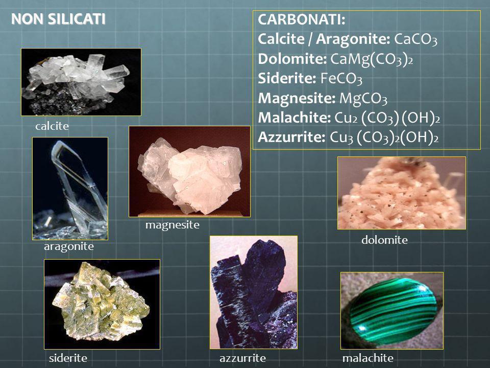 CARBONATI: Calcite / Aragonite: CaCO 3 Dolomite: CaMg(CO 3 ) 2 Siderite: FeCO 3 Magnesite: MgCO 3 Malachite: Cu 2 (CO 3 ) (OH) 2 Azzurrite: Cu 3 (CO 3