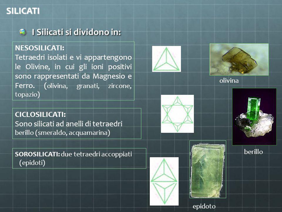 I Silicati si dividono in: SILICATI NESOSILICATI: Tetraedri isolati e vi appartengono le Olivine, in cui gli ioni positivi sono rappresentati da Magne
