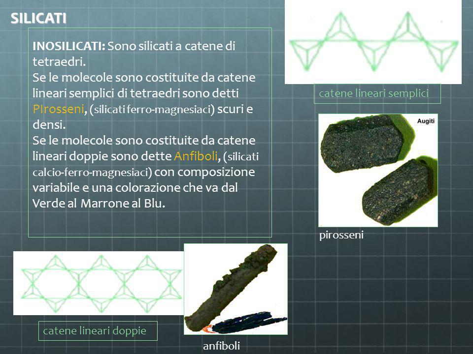 INOSILICATI: Sono silicati a catene di tetraedri. Se le molecole sono costituite da catene lineari semplici di tetraedri sono detti PIrosseni, (silica