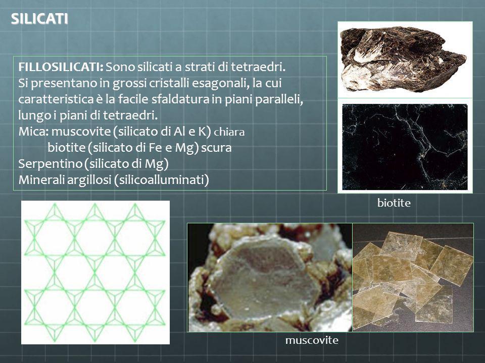 FILLOSILICATI: Sono silicati a strati di tetraedri. Si presentano in grossi cristalli esagonali, la cui caratteristica è la facile sfaldatura in piani