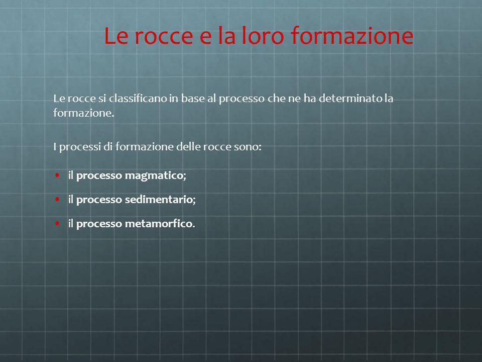 Le rocce si classificano in base al processo che ne ha determinato la formazione. I processi di formazione delle rocce sono: il processo magmatico; il